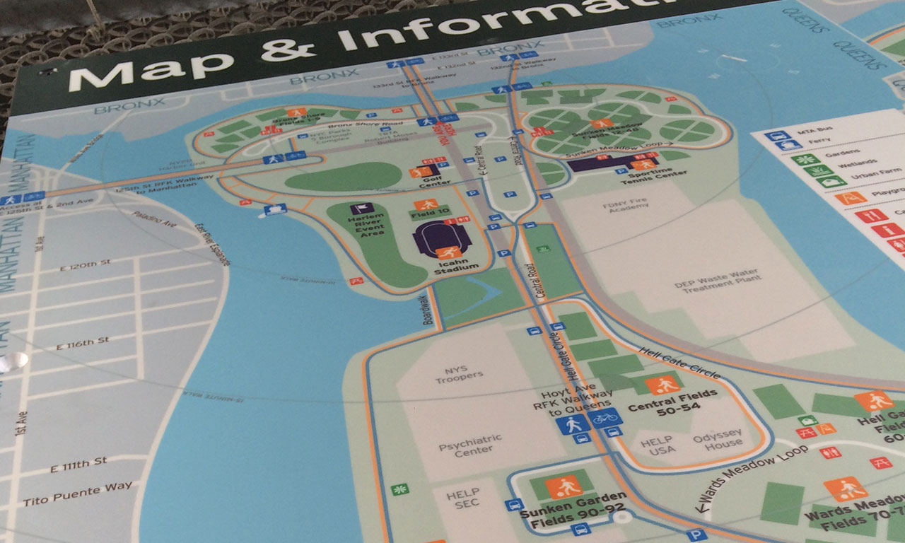Randall's Island Park Wayfinding System | Via Collective on tuscaloosa marine shale field map, grand park field map, central park map, new york city area map, flanders field map, randall's island new york map, city island map, randall island ny map, bear creek park field map,